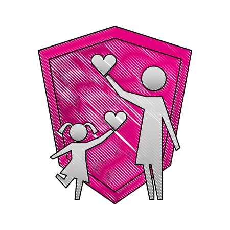 parent mom and daugther with hearts shield protection vector illustration