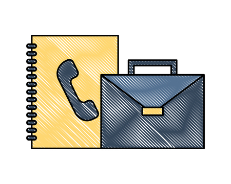 business briefcase address book office vector illustration