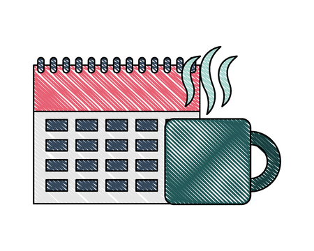 business calendar planning hot coffee cup vector illustration