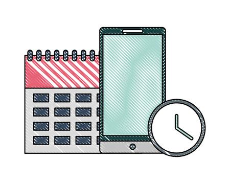 office calendar smartphone clock time business vector illustration