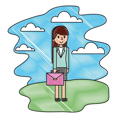 businesswoman with briefcase in the nature landscape vector illustration Ilustração
