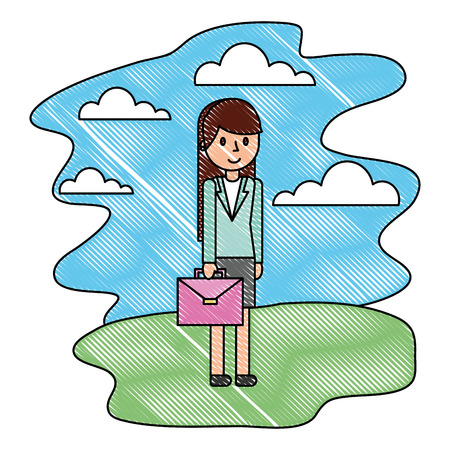 businesswoman with briefcase in the nature landscape vector illustration Illustration