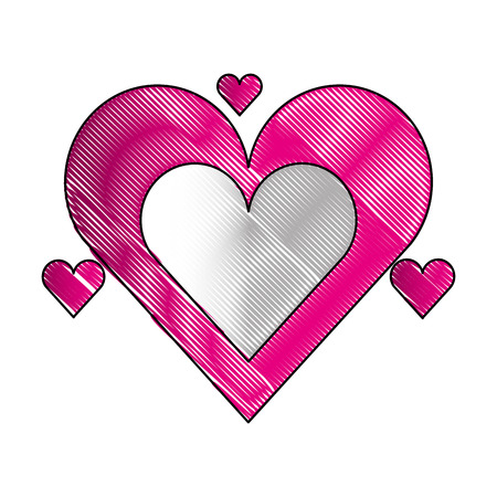 romantic love hearts passion affection vector illustration