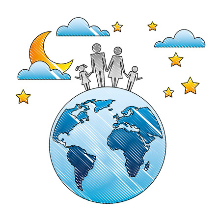 family parents and kids on world sky night vector illustration