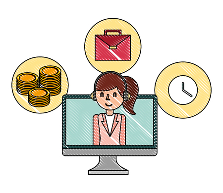 businesswoman in monitor computer money briefcase and clock vector illustration