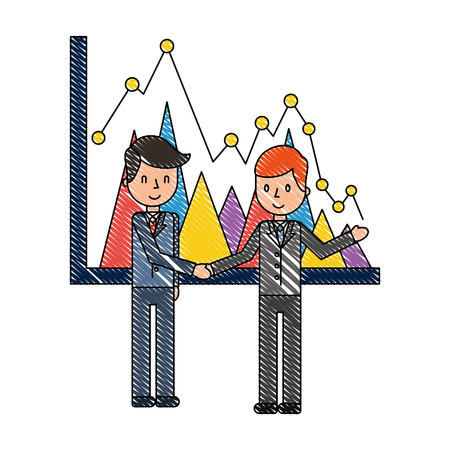 businessmen report statistics chart business vector illustration