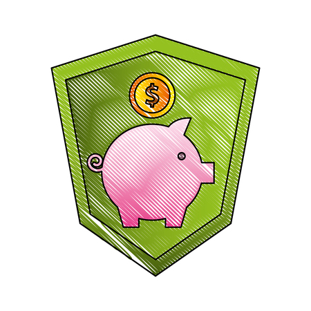 shield protection piggy bank coins currency money vector illustration Çizim