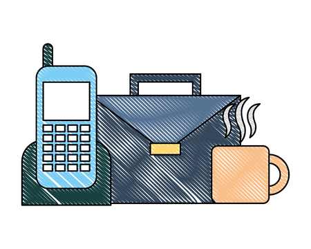 business smartphone briefcase and coffee cup vector illustration 向量圖像