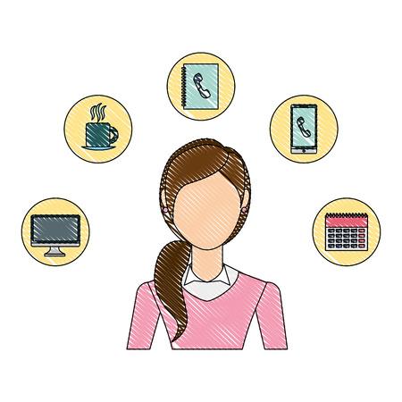 business woman employee character portrait vector illustration