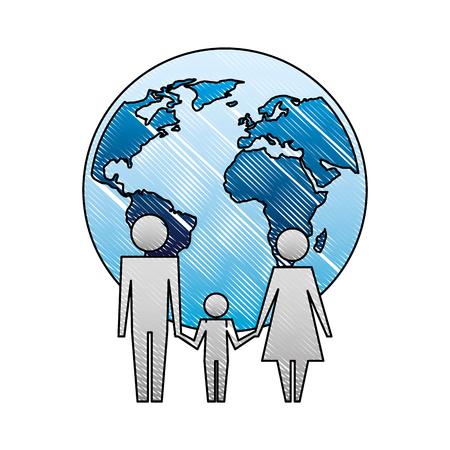 Unidad familiar tomados de la mano ilustración de vector de planeta mundo Ilustración de vector