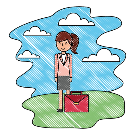 businesswoman with briefcase in the nature landscape vector illustration Çizim