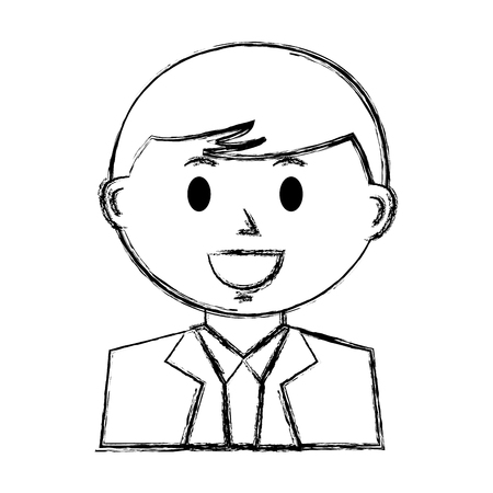 business man character cartoon portrait vector illustration hand drawing