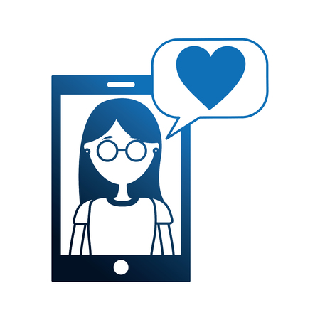 smartphone with woman and speech bubble vector illustration design Stok Fotoğraf - 109952596
