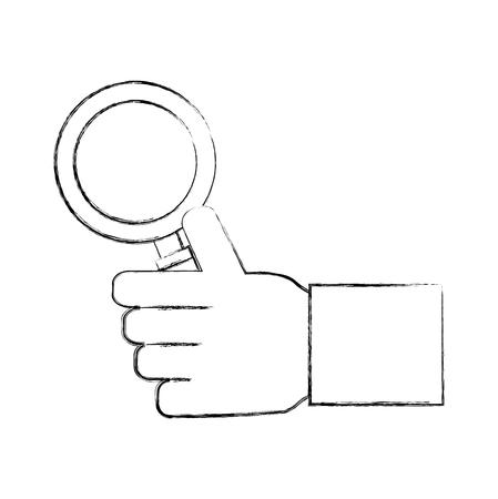 Mano sujetando lupa buscar ilustración vectorial dibujo a mano