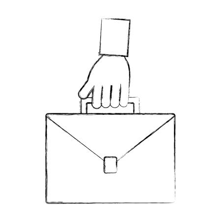 mano che regge affari valigetta attrezzature illustrazione vettoriale disegno a mano Vettoriali