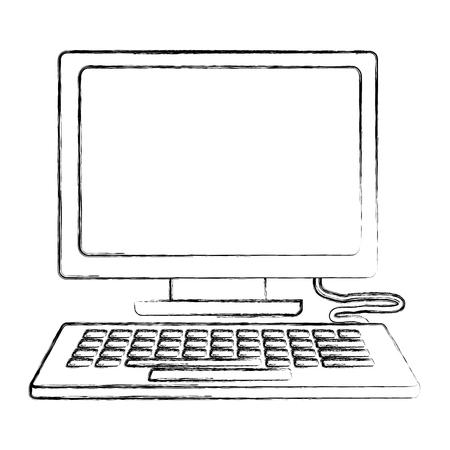 computer keyboard device technology digital vector illustration hand drawing Vector Illustration