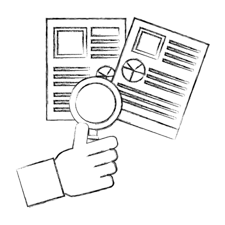 hand holding magnifying glass resume documents vector illustration hand drawing