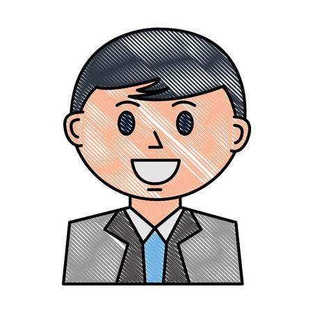 business man character cartoon portrait vector illustration