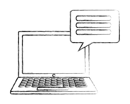 computer keyboard speech bubble communication vector illustration hand drawing Illustration