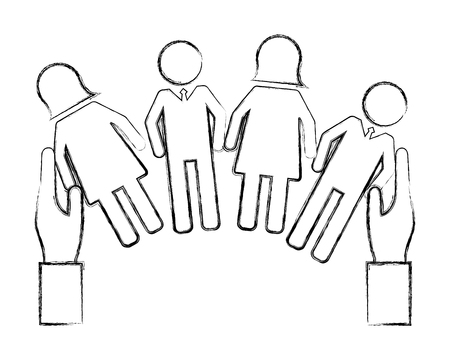 hands with people pictogram human resources vector illustration hand drawing Illustration