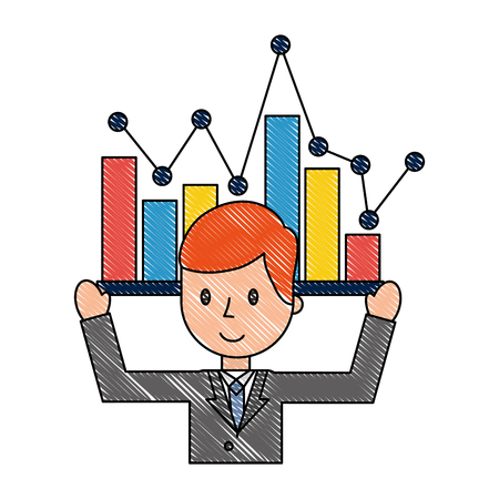 businessman portrait business statistics chart report vector illustration