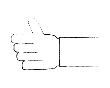 hand like thumb up approve gesture vector illustration hand drawing