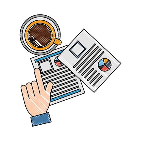 mano contratación reanudar documentos taza de café ilustración vectorial Ilustración de vector