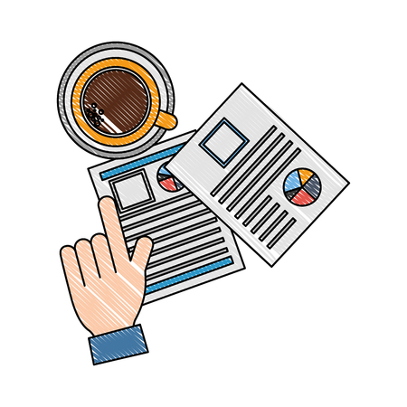 hand hiring resume documents coffee cup vector illustration