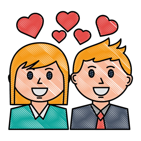 couple portrait character love hearts vector illustration