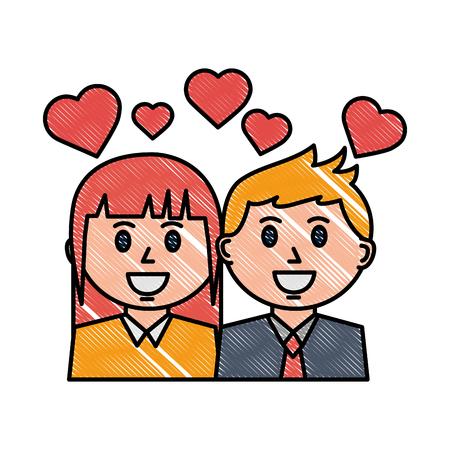 couple portrait character love hearts vector illustration