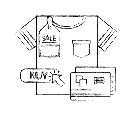 shirt male with cursor and credit card vector illustration design
