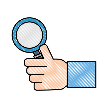 hand holding magnifying glass search vector illustration Çizim