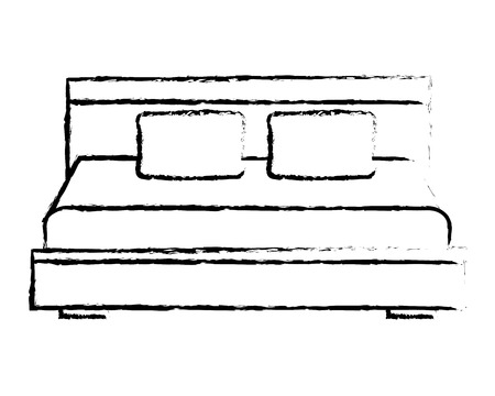 wooden double bed pillows furniture vector illustration