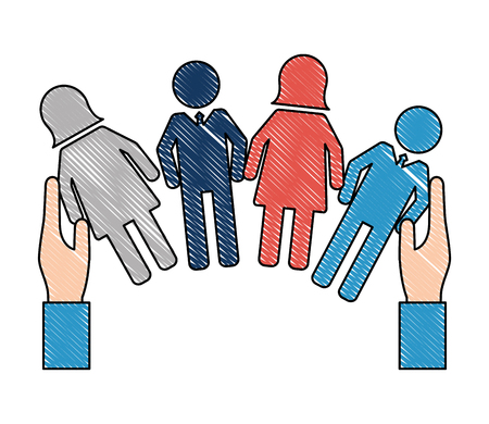 hands with people pictogram human resources vector illustration