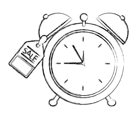 alarm clock with tag vector illustration design Vettoriali