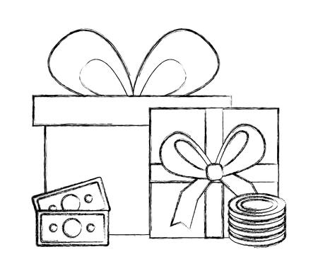 gift box present with money vector illustration design