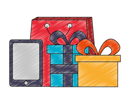 shopping bag with tablet and gift vector illustration design