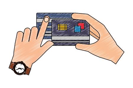 hand with credit card vector illustration design Çizim