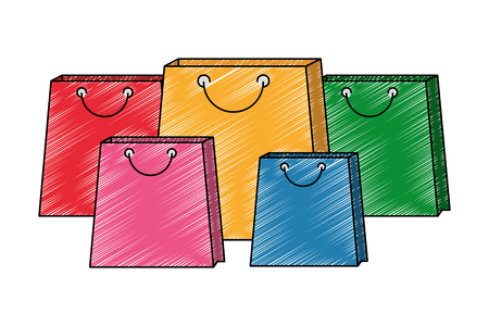 set shopping bags commercial icons vector illustration design