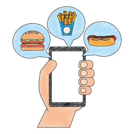 hand with smartphone and fast food app vector illustration design