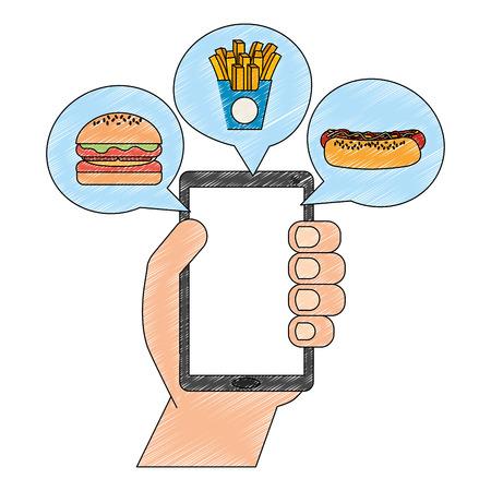Mano con smartphone y aplicación de comida rápida, diseño de ilustraciones vectoriales