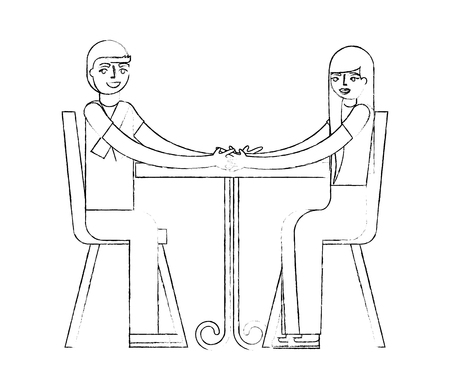 young couple with dining room avatar character vector illustration design