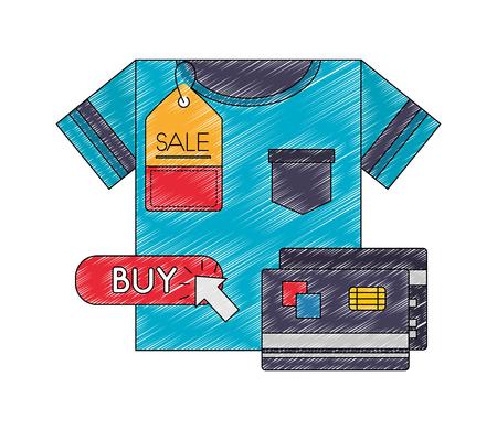 shirt male with cursor and credit card vector illustration design Standard-Bild - 109952720
