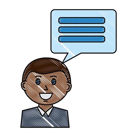 businessman portrait and speech bubble vector illustration