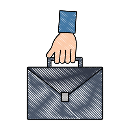 hand holding business briefcase equipment vector illustration