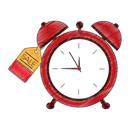 alarm clock with tag vector illustration design