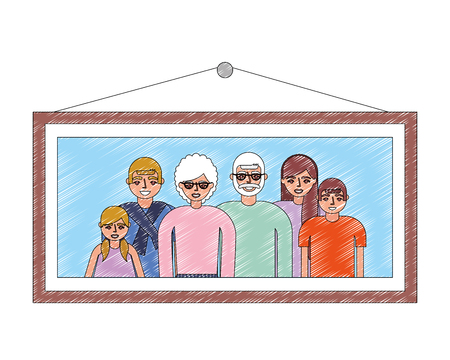 grandparents couple with family portrait vector illustration design