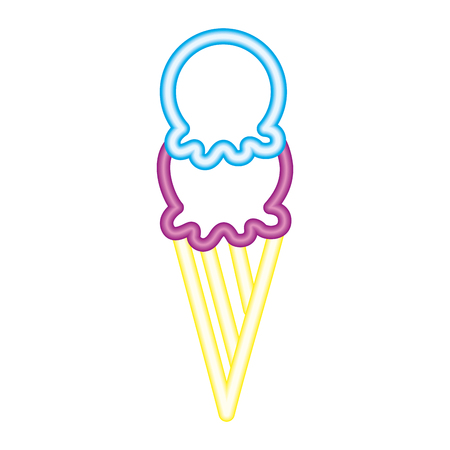 ice cream scoop delicious neon design vector illustration  イラスト・ベクター素材