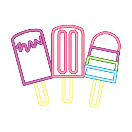 neon glow three ice cream vector illustration Illustration