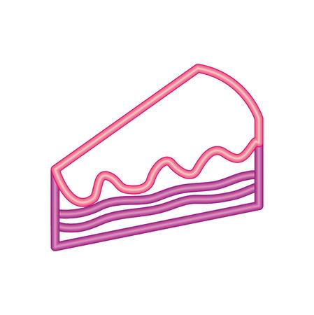 neon sweet piece cake birthday tasty vector illustration Ilustração